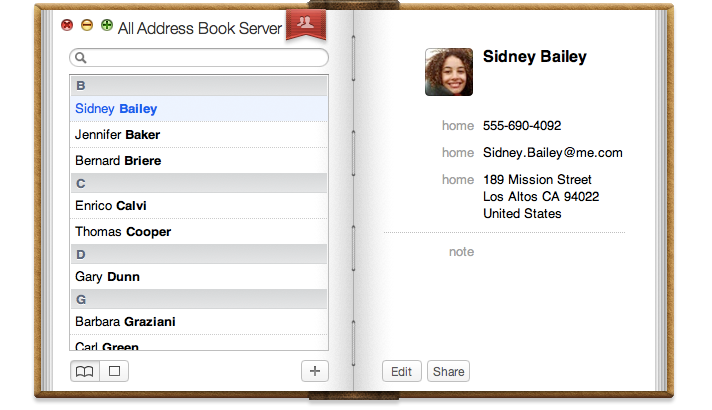 Apple address book demo image